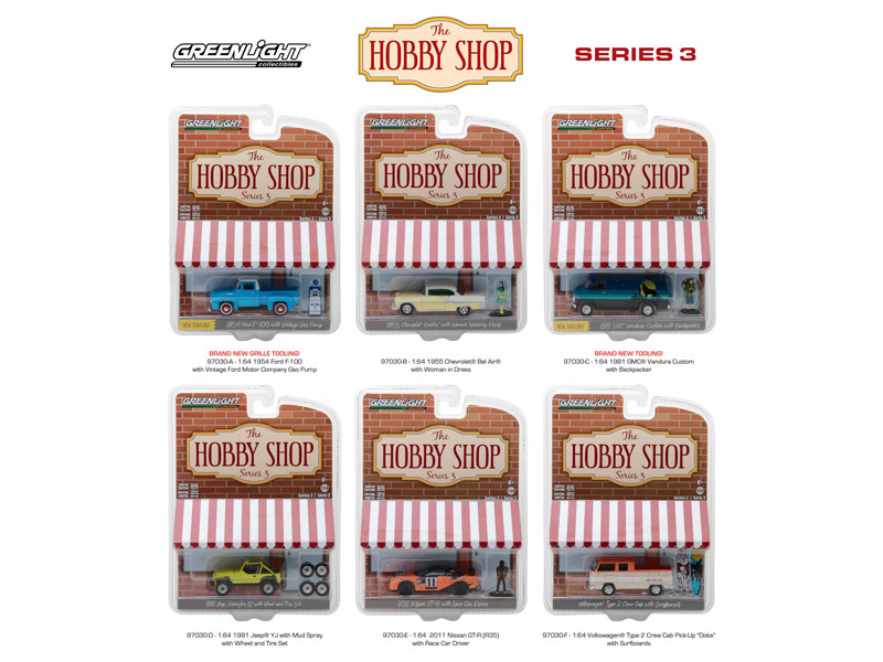 The Hobby Shop Series 3 Set of 6 Cars 1/64 Diecast Models Greenlight 97030