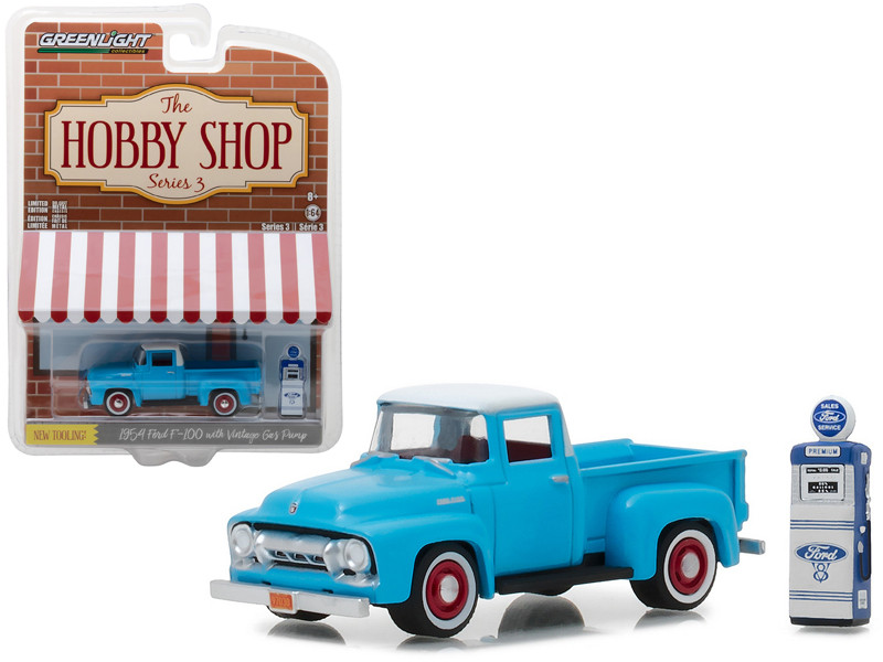 1954 Ford F-100 Pickup Truck Blue with Vintage Ford Motor Company Gas Pump The Hobby Shop Series 3 1/64 Diecast Model Car Greenlight 97030 A