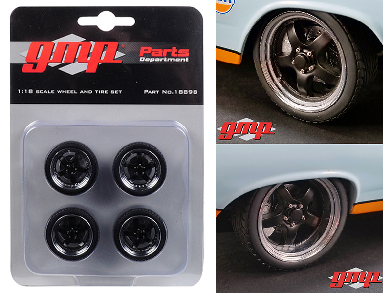 5-Spoke Wheel and Tire Pack of 4 from 1966 Ford Fairlane Street Fighter Gulf Oil 1/18 GMP 18898