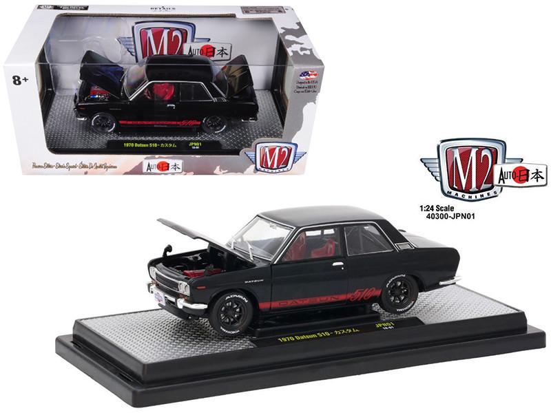 1970 Datsun 510 Auto-Japan Gloss Black with Bright Red Stripes 1/24 Diecast Model Car M2 Machines 40300-JPN01 A