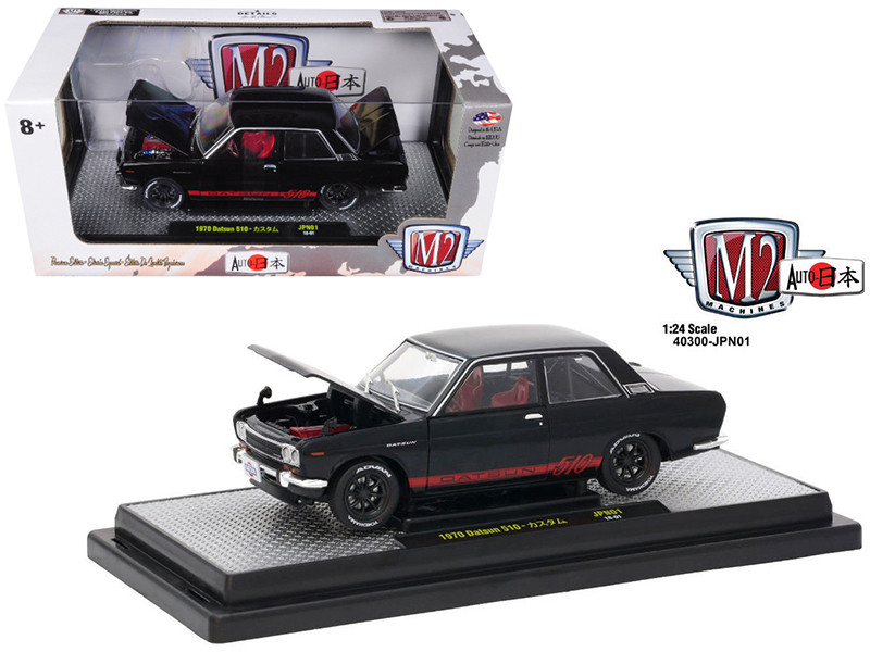 1970 Datsun 510 Auto-Japan Gloss Black with Bright Red Stripes 1/24 Diecast Model Car M2 Machines 40300-JPN01 A