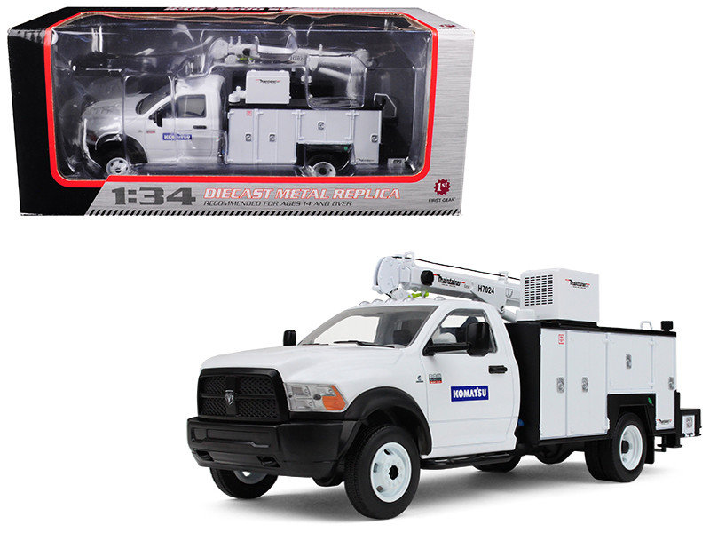 Dodge Ram 5500 Komatsu with Maintainer Service Body White 1/34 Diecast Model Car First Gear 10-4060 A