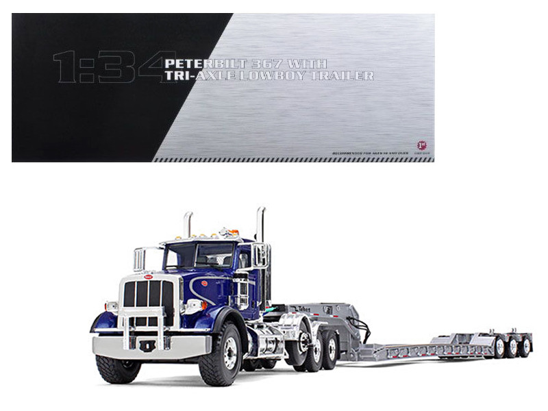 Peterbilt 367 with Tri Axle Lowboy Trailer Blue and Silver 1/34 Diecast Model First Gear 10-4071