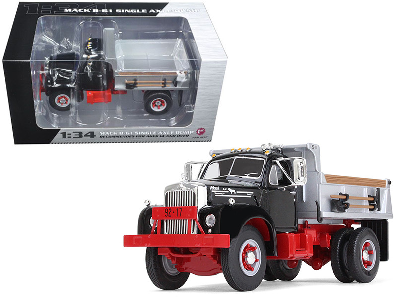 Mack B-61 Single-Axle Dump Truck Black and Silver 1/34 Diecast Model Car First Gear 19-4087