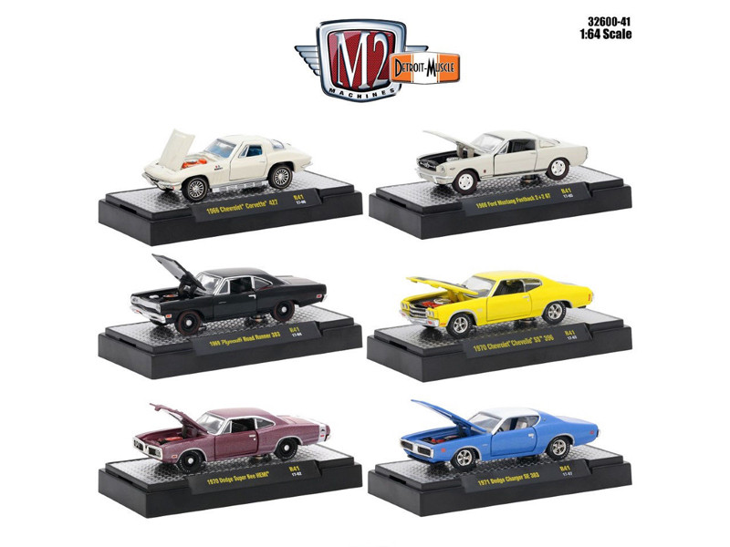 Detroit Muscle 6 Cars Set Release 41 IN DISPLAY CASES 1/64 Diecast Model Cars M2 Machines 32600-41