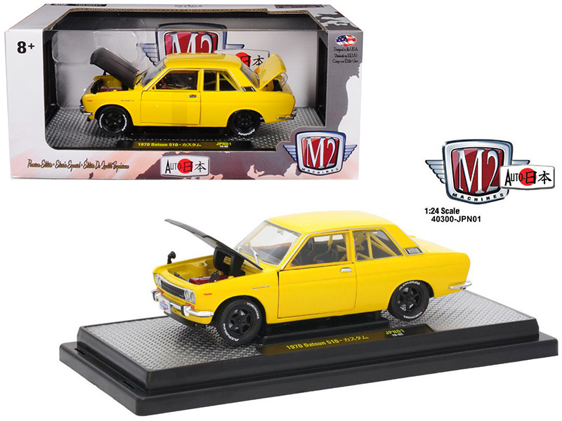 1970 Datsun 510 Auto-Japan Yellow with Gloss Black Hood 1/24 Diecast Model Car M2 Machines 40300-JPN01 B