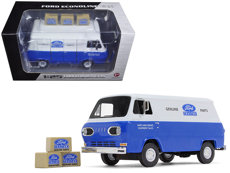 1960\'s Ford Econoline Van Blue with Three Boxes Ford Tractor Parts & Service 1/25 Diecast Model Car by First Gear
