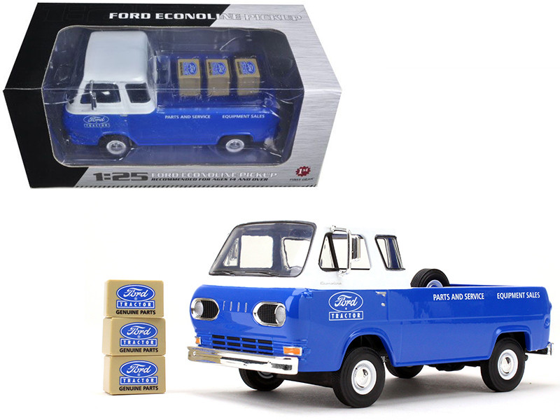 1960\'s Ford Econoline Pickup Blue with Boxes Ford Tractor Parts & Service 1/25 Diecast Model Car by First Gear