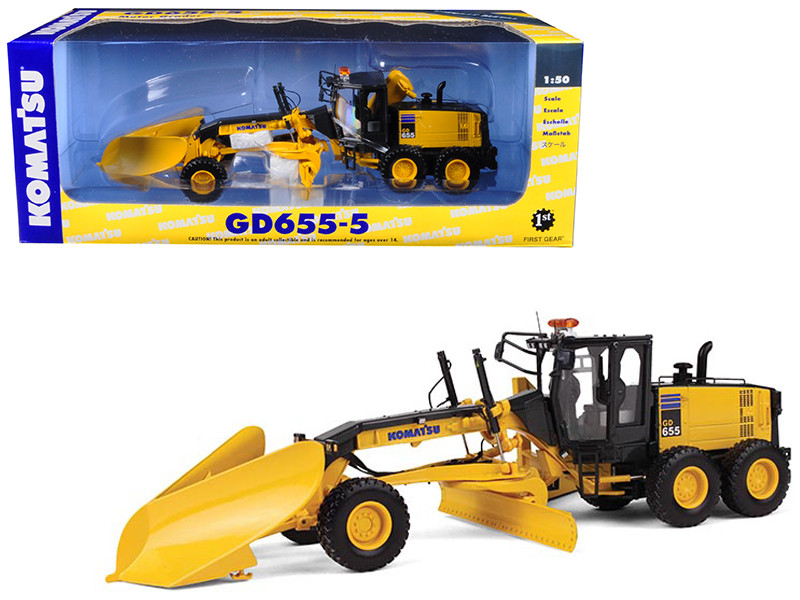 Komatsu GD655-5 Motor Grader with V-Plow & Wing 1/50 Diecast Model First Gear 50-3266