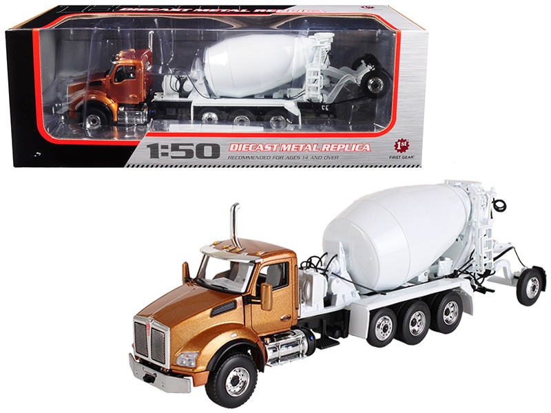 Kenworth T880 with Mcneilus Bridgemaster Mixer Aztec Gold White 1/50 Diecast Model First Gear 50-3316
