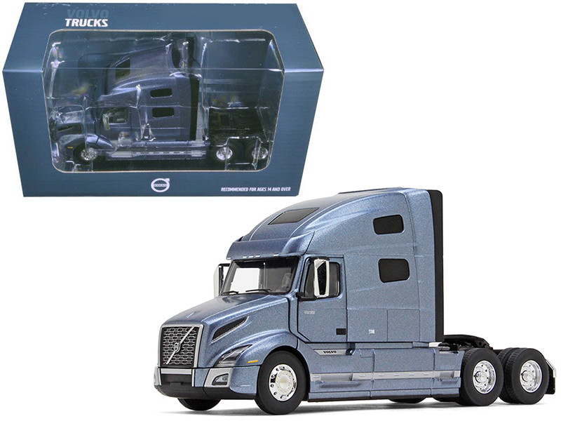 Volvo VNL 760 Sleeper Cab Smoky Mountain Blue Metallic 1/50 Diecast Model Car First Gear 50-3373