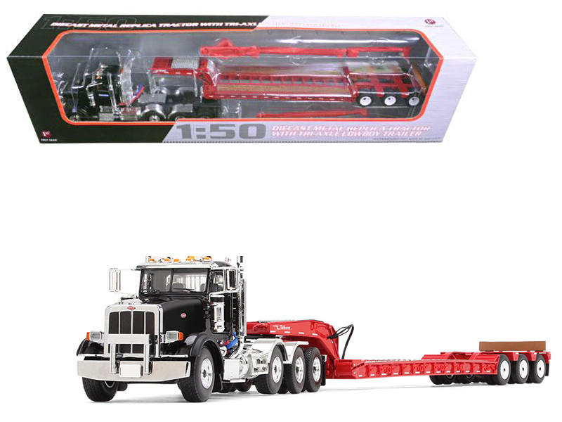 Peterbilt 367 with Tri Axle Lowboy Trailer Komatsu Black and Red 1/50 Diecast Model First Gear 50-3379 A
