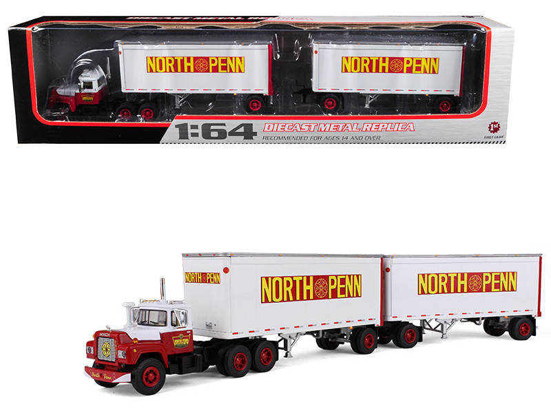 Mack R Model Truck North Penn With Dual 28' Trailers 1/64 Diecast Model First Gear 60-0287