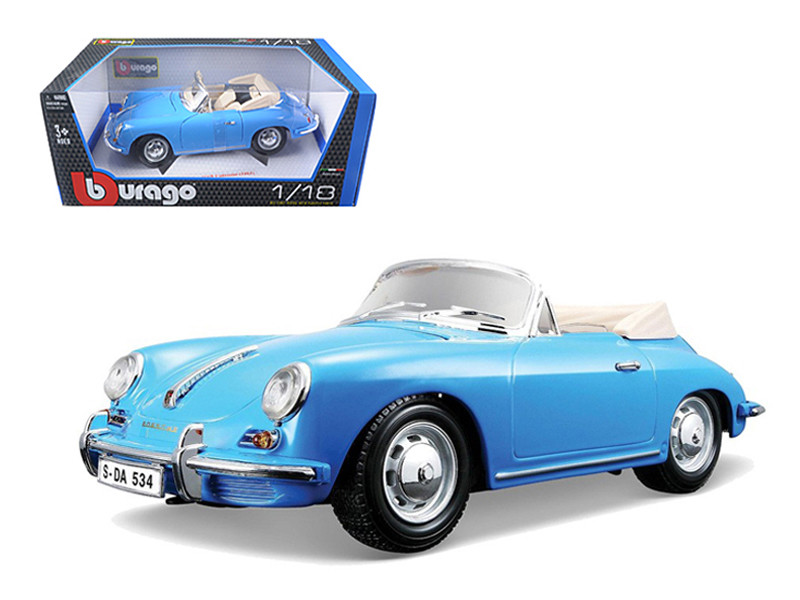 1961 Porsche 356B Convertible Blue 1/18 Diecast Car Model Bburago 12025