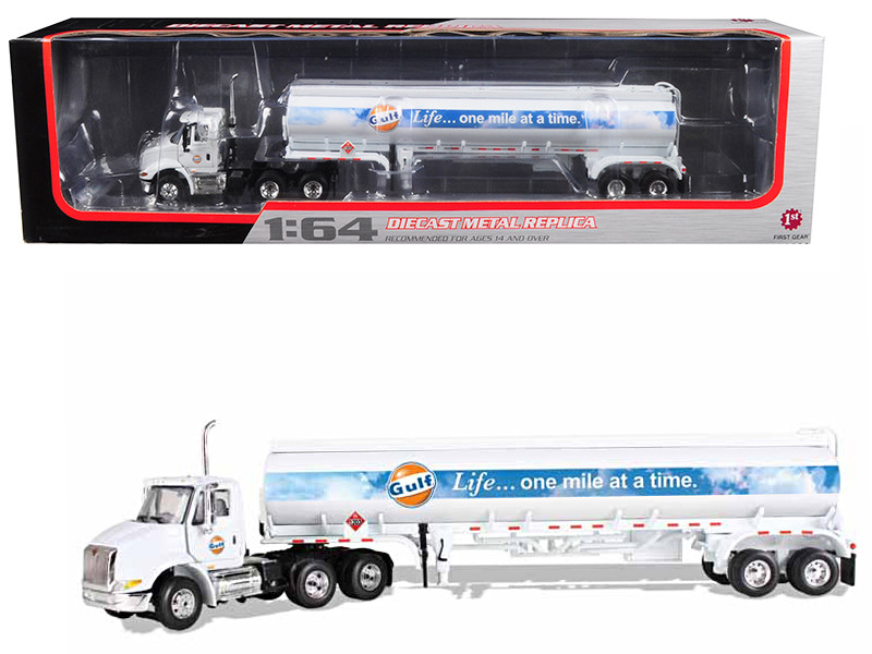 International 8600 GULF with 42' Fuel Tank Trailer 1/64 Diecast Model First Gear 69-0290