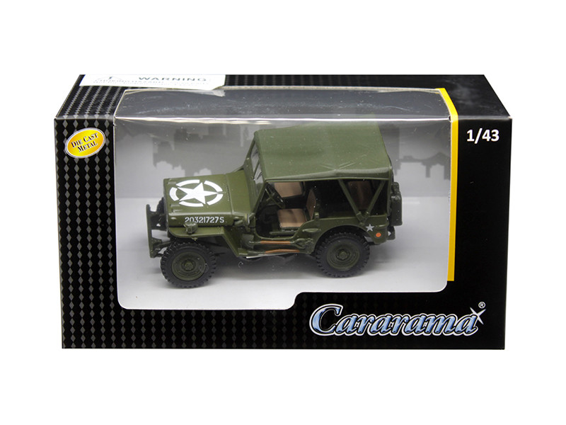 1/4 Ton Military Vehicle Soft Top Green 1/43 Diecast Model Car Cararama 4-90180