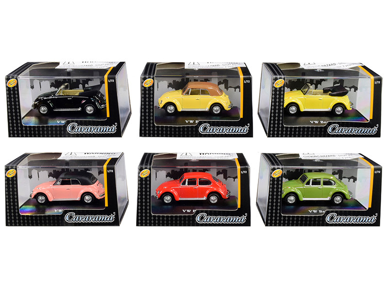 Volkswagen Beetle Set 6 pieces Display Showcases 1/72 Diecast Model Cars Cararama 711ND-021 A
