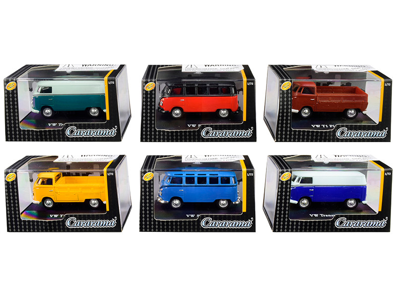 Volkswagen Set 6 pieces Display Showcases 1/72 Diecast Model Cars Cararama 711ND-021 B