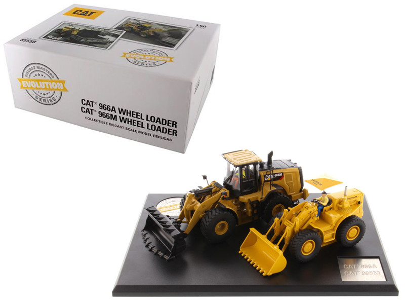 CAT Caterpillar 966A Wheel Loader Circa 1960-1963 and CAT Caterpillar 966M Wheel Loader Current with Operators Evolution Series 1/50 Diecast Models Diecast Masters 85558