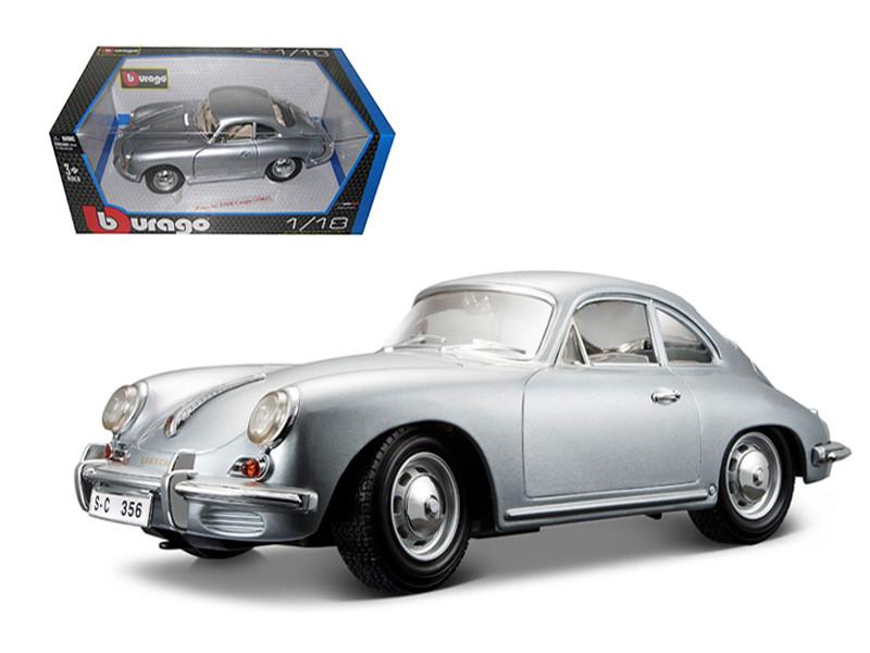 1961 Porsche 356B Coupe Silver 1/18 Diecast Car Model Bburago 12026