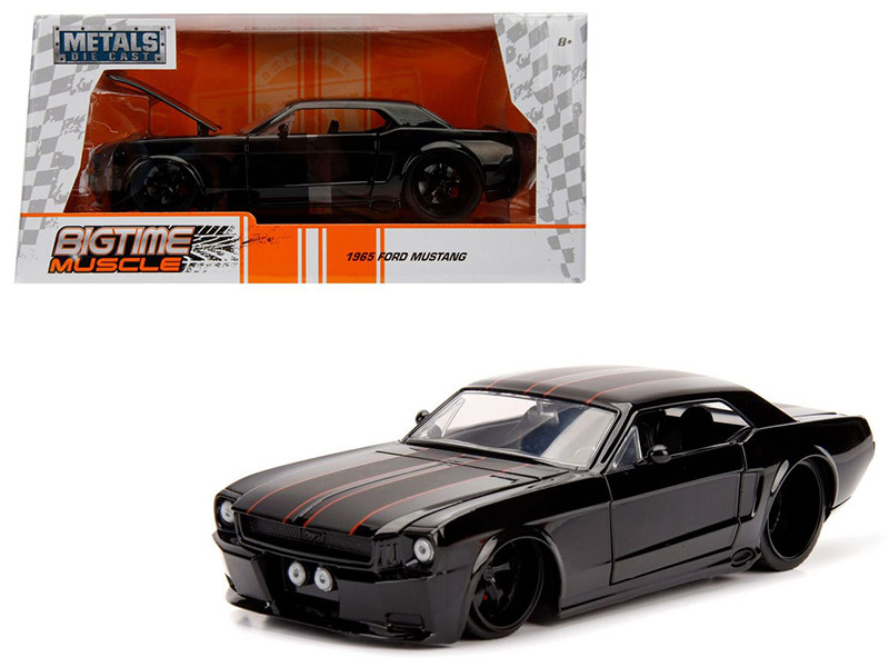 1965 Ford Mustang Black with Matte Black Stripes 1/24 Diecast Model Car Jada 99967