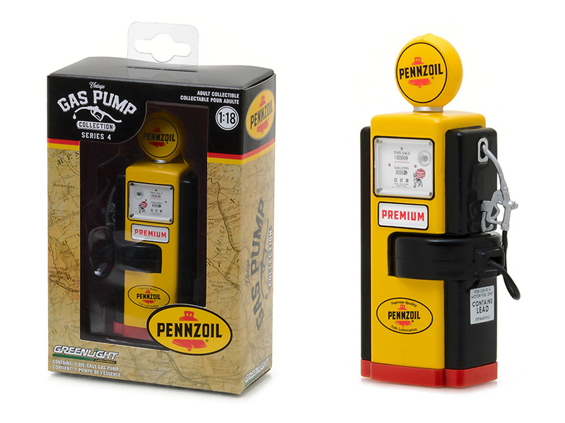 1948 Wayne 100-A Gas Pump Pennzoil Supreme Quality Safe Lubrication Gas Pump Replica Vintage Series 4 1/18 Diecast Model Greenlight 14040 A