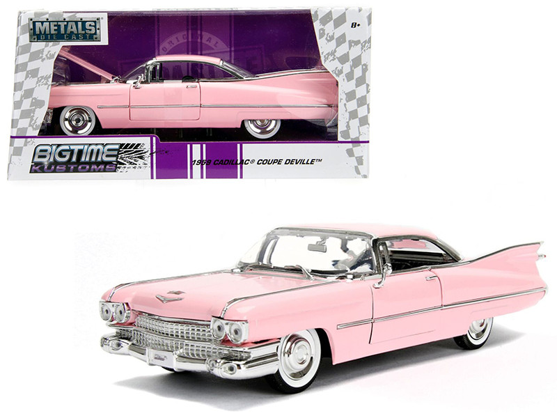 1959 Cadillac Coupe DeVille Pink 1/24 Diecast Model Car Jada 96801
