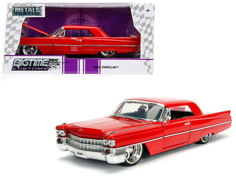 1963 Cadillac Red 1/24 Diecast Model Car Jada 99551