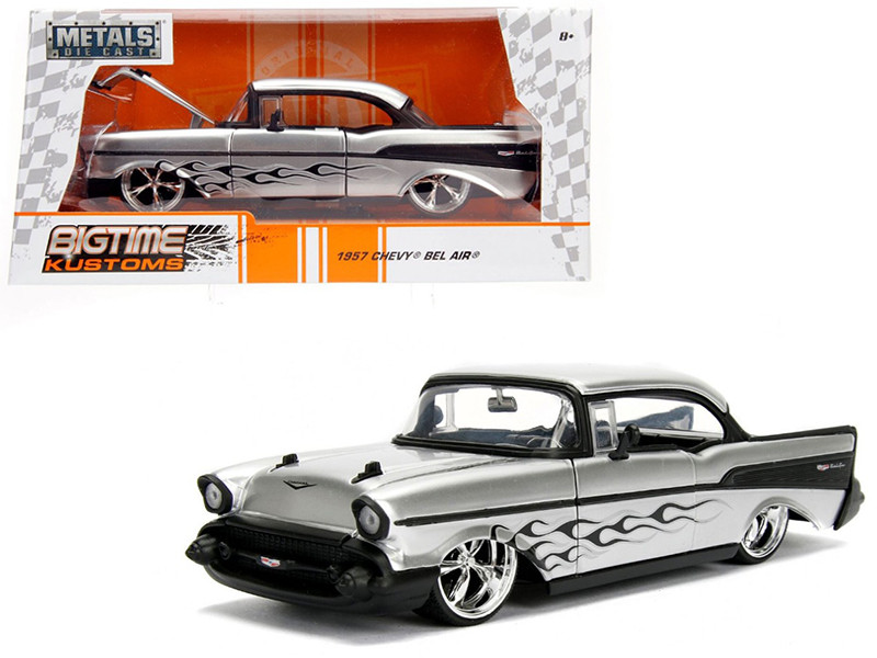 1957 Chevrolet Bel Air Silver with Flames 1/24 Diecast Model Car Jada 99966