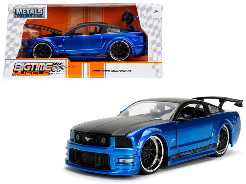 2006 Ford Mustang GT Blue with Black Top 1/24 Diecast Model Car Jada 99974