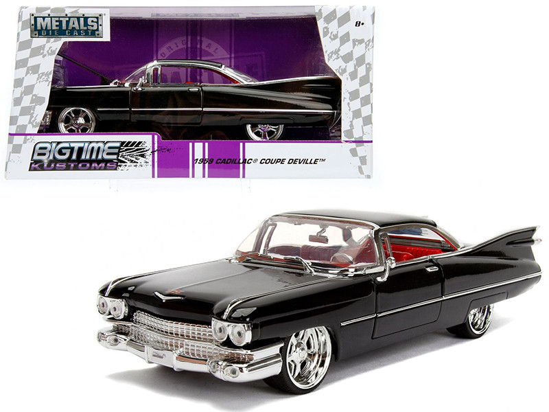 1959 Cadillac Coupe DeVille Black 1/24 Diecast Model Car Jada 99989