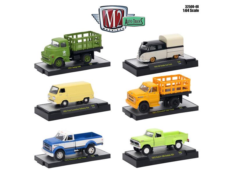Auto Trucks 6 Piece Set Release 48 IN DISPLAY CASES 1/64 Diecast Model Cars M2 Machines 32500-48
