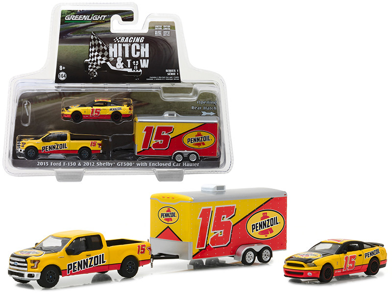2015 Ford F-150 and 2012 Shelby GT500 Pennzoil with Enclosed Car Hauler Racing Hitch Tow Series 1 1/64 Diecast Models Greenlight 31050 C