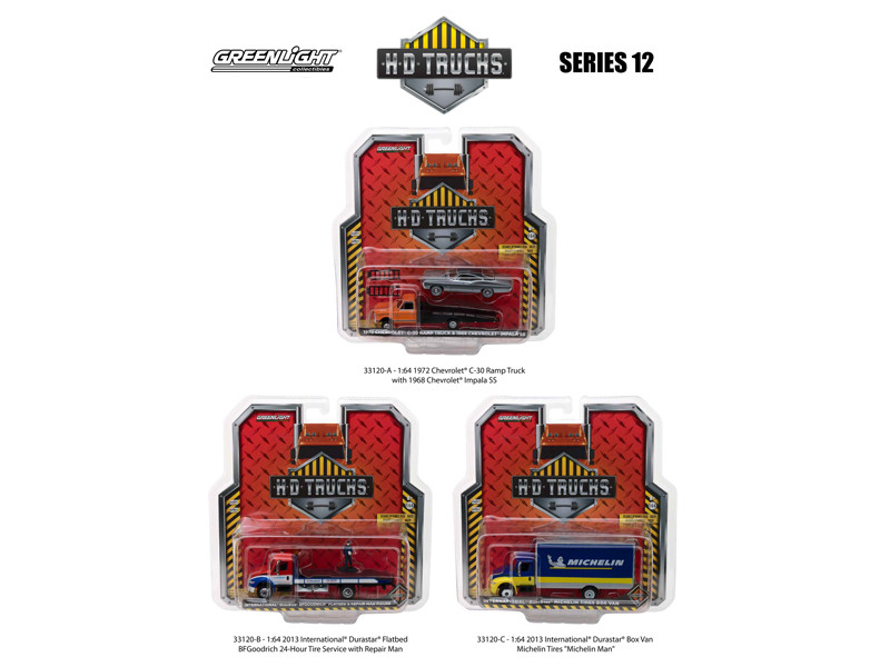 Heavy Duty Trucks Set of 3 HD Trucks Series 12 1/64 Diecast Models Greenlight 33120