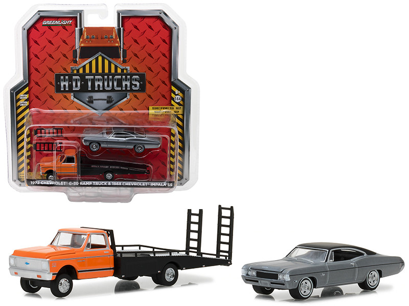 1972 Chevrolet C-30 Ramp Truck and 1968 Chevrolet Impala SS HD Trucks Series 12 1/64 Diecast Models Greenlight 33120 A