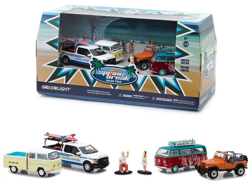 Spring Break Road Trip 6 pieces Set Multi Car Diorama with Figurines 1/64 Diecast Model Cars Greenlight 58047