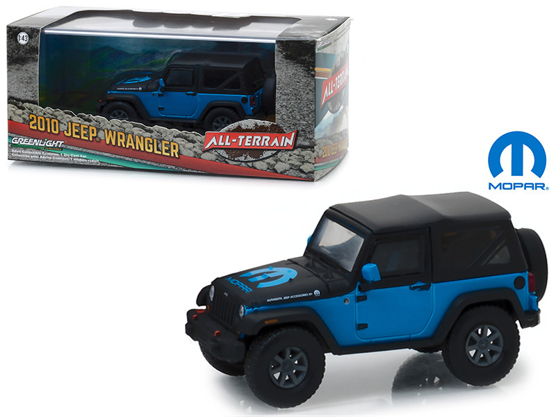 2010 Jeep Wrangler The General Mopar Blue and Black Display Showcase 1/43 Diecast Model Car Greenlight 86092