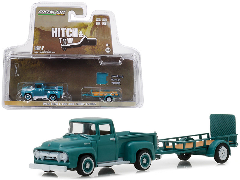 1954 Ford F-100 and Utility Trailer Green Hitch & Tow Series 13 1/64 Diecast Car Model Greenlight 32130 A