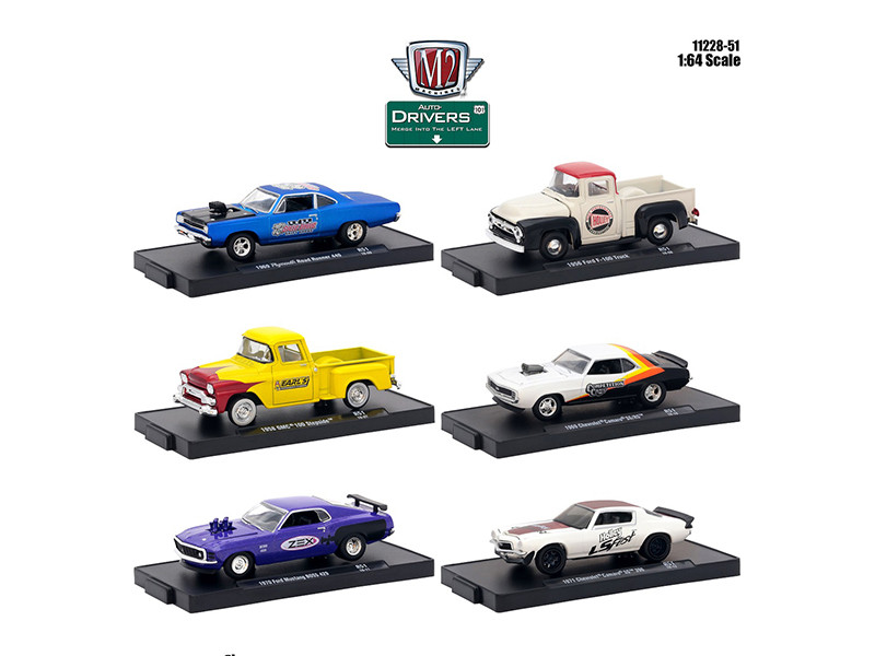 Drivers 6 Cars Set Release 51 Blister Packs 1/64 Diecast Model Cars M2 Machines 11228-51