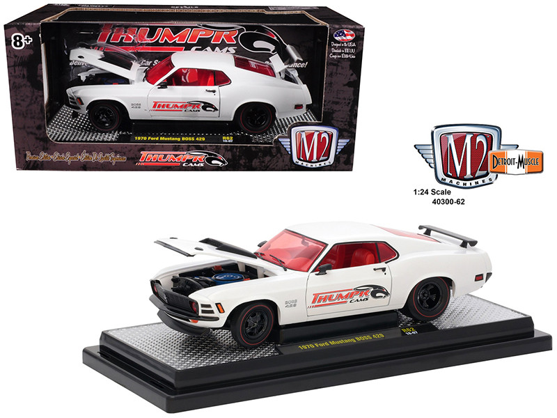1970 Ford Mustang BOSS 429 Thumpr Cams Semi-Gloss White 1/24 Diecast Model Car M2 Machines 40300-62 A