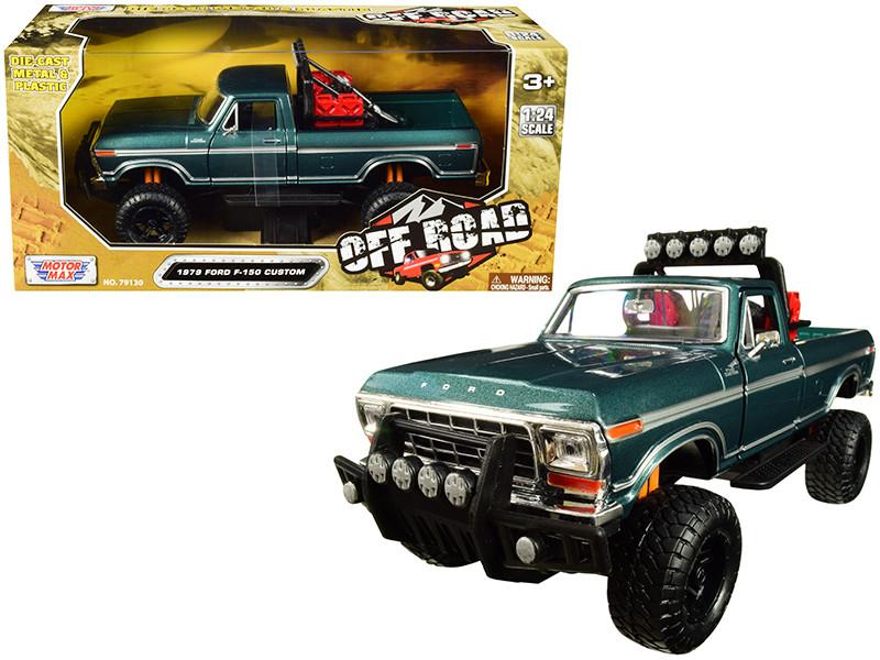 1979 Ford F-150 Custom Pickup Truck Off Road Green 1/24 Diecast Model Motormax 79138