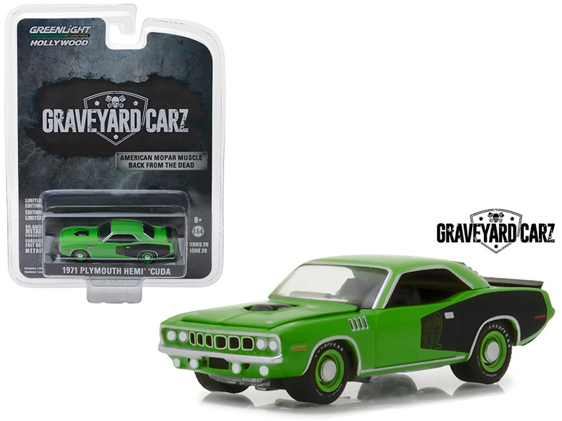 1971 Plymouth Hemi Cuda Green Graveyard Carz 2012 TV Series Hollywood Series 20 1/64 Diecast Model Car Greenlight 44800 E