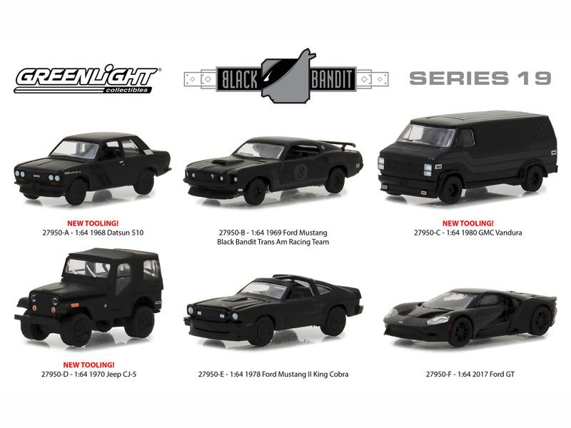 Black Bandit Series 19 6 pc Set 1/64 Diecast Models Greenlight 27950