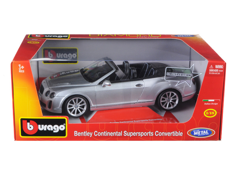 Bentley Continental Supersports Convertible Silver 1/18 Diecast Car Model Bburago 11035