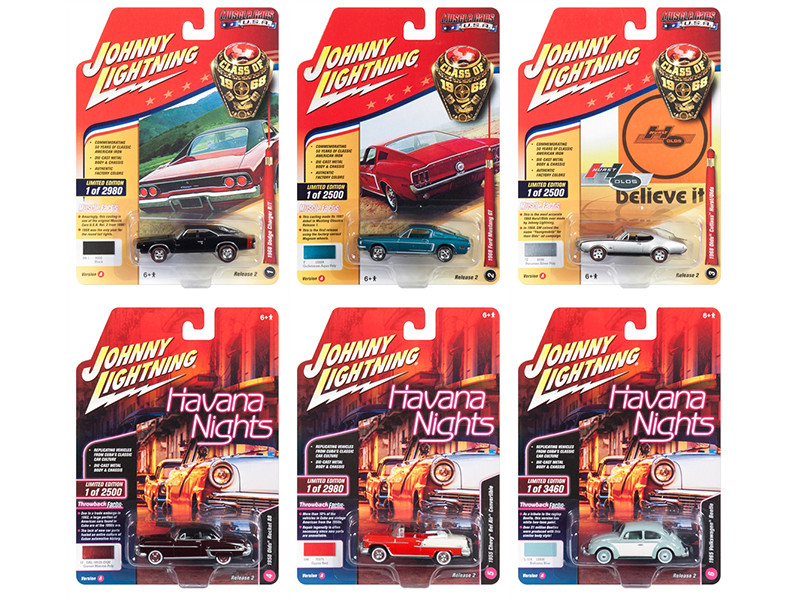 Muscle Cars USA 2018 Release 2 Set A 6 1/64 Diecast Model Cars Johnny Lightning JLMC013 A