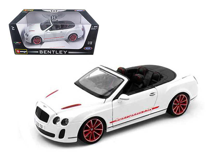 2012 2013 Bentley Continental Supersports ISR Convertible White 1/18 Diecast Model Car Bburago 11035