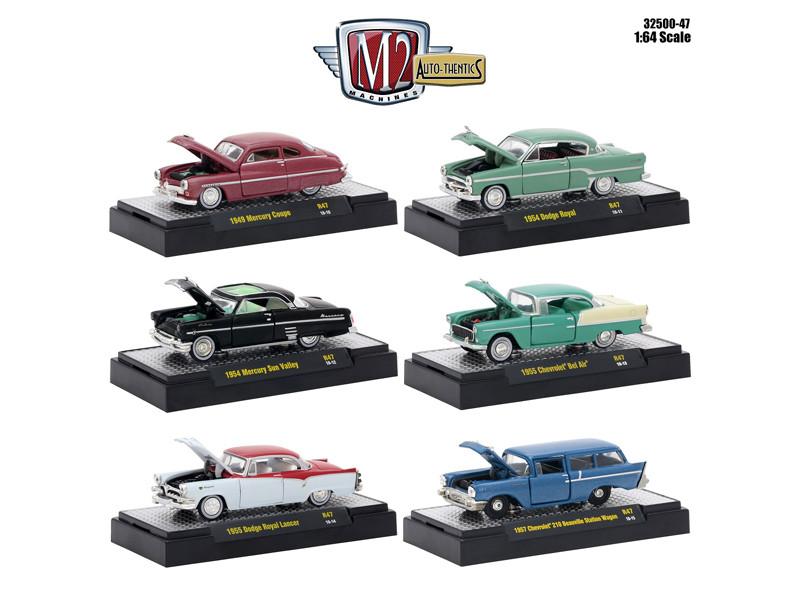 Auto Thentics 6 Piece Set Release 47 DISPLAY CASES 1/64 Diecast Model Cars M2 Machines 32500-47