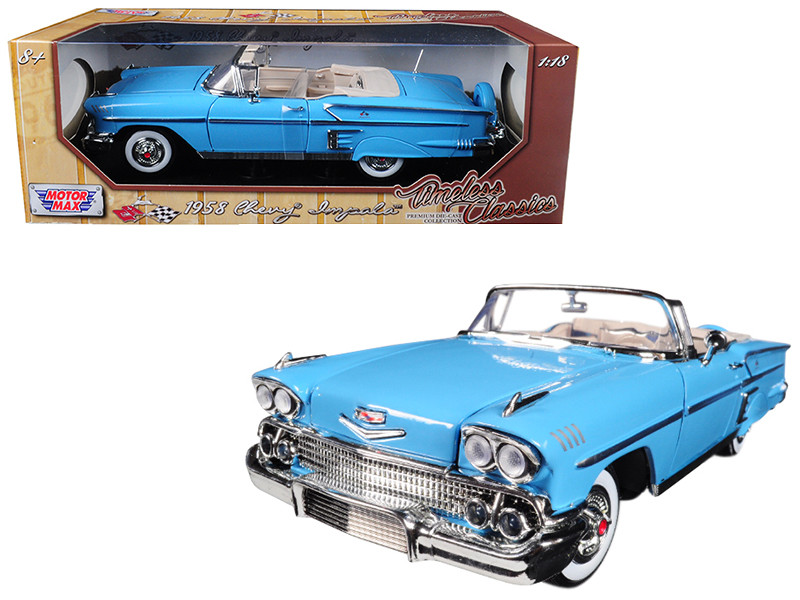 "1958 Chevrolet Impala Convertible Light Blue ""Timeless Classics"" 1/18 Diecast Model Car by Motormax"