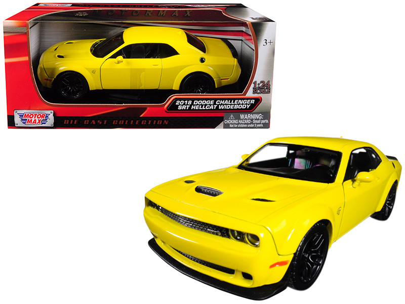 2018 Dodge Challenger SRT Hellcat Widebody Yellow 1/24 Diecast Model Car Motormax 79350