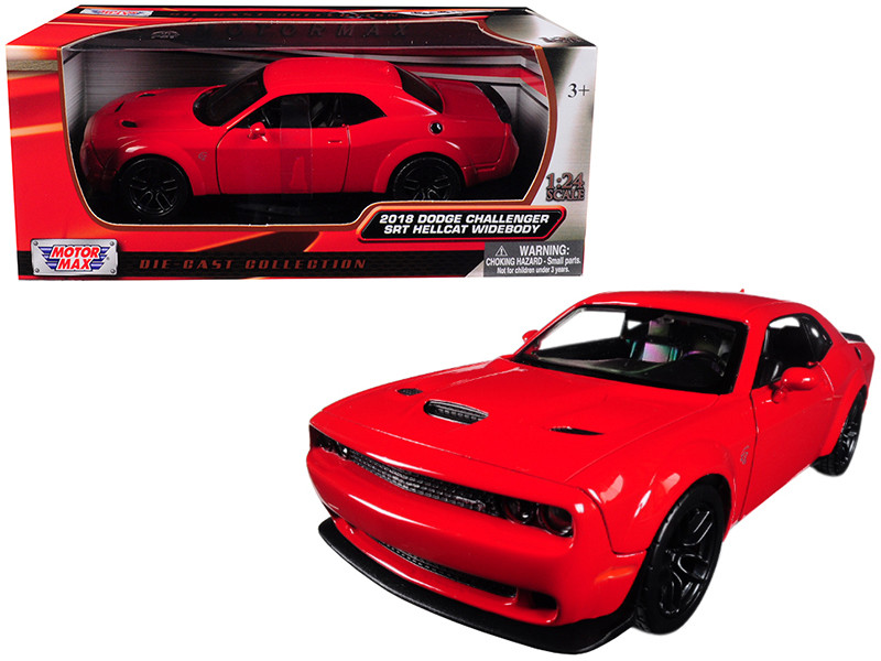 2018 Dodge Challenger SRT Hellcat Widebody Red 1/24 Diecast Model Car Motormax 79350